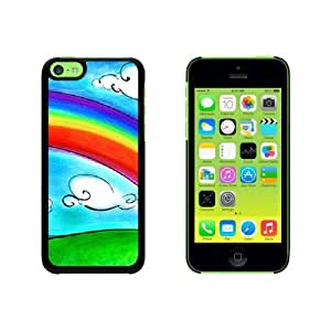 Cartoon Sky Rainbow and Clouds Snap On Hard Protective For HTC One M7 Phone Case Cover - Black