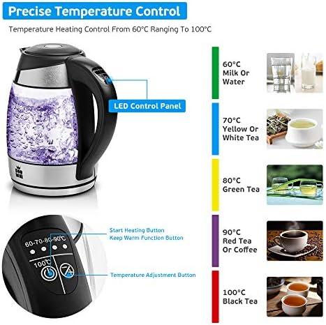 ForMe Bouilloire Électrique en Verre 1.8 I Température Réglable 60-100°C I LED I Contrôle de Température Variable I Fonction de Maintien au Chaud I 2200W I Sans BPA (pas de Filtre à Thé)