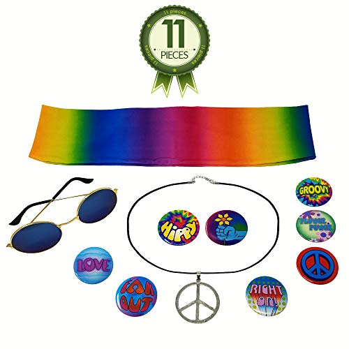 NorNovelties Hippie Costume Accessories - Peace Sign Necklace 8 Buttons Glasses Tie Dye Headband -