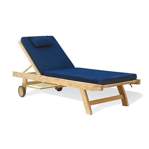 Low priced Teak Garden Sun Lounger with Cushion (blue) - Jati Brand,  Quality & Value Amazon.co.uk Garden & Outdoors
