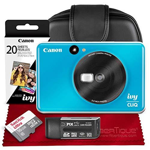 Canon Ivy CLIQ Instant Camera Printer (Seaside Blue) + 30 Sheets Photo Paper + 16GB SD Card + Case + Premium Accessories Bundle (USA Warranty)