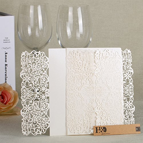 24 pcs Laser Cut Wedding Invitations Cards with Lace Flowers Engagement Birthday Bridal Shower Baby Shower Graduation Invitation Cardstock Party Favors ()