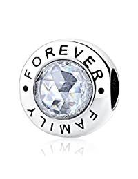 PAHALA 925 Sterling Silver Family Forever With Crystals Charms Pendant Fit Bracelets Necklace