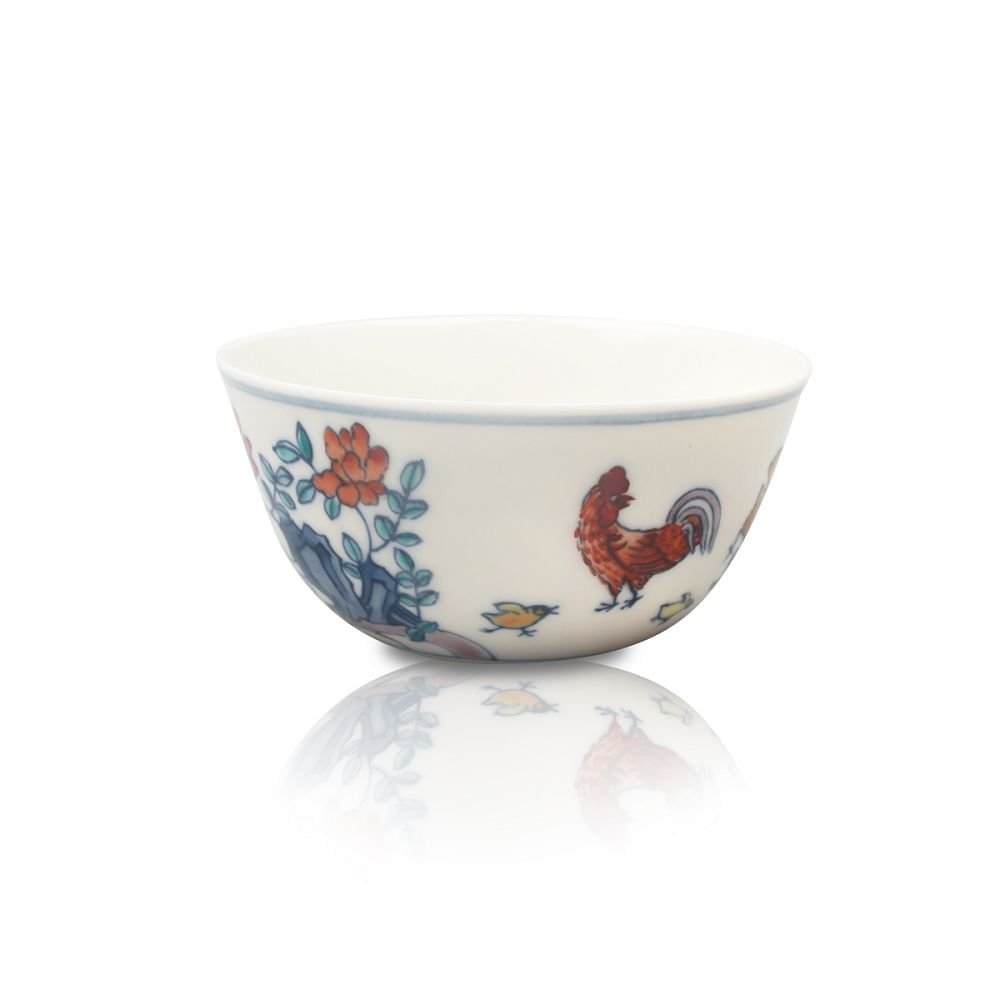 National Palace Museum Porcelain Cup with Design of Chickens Rocks and Flowers