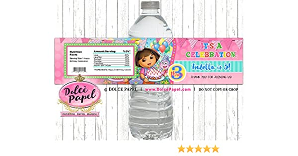Birthday Party Favors Dora the Explorer Water Bottle Wrappers Set of 12