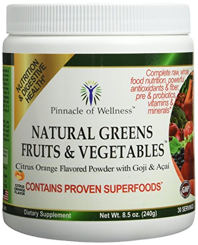 Pinnacle of Wellness Natural Greens Fruits & Vegetables Superfood Powder - Citrus Orange Flavor - 30 Servings 8.5oz (240g) (Grass Pinnacle Green)