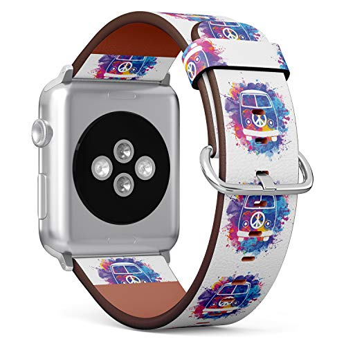 (Watercolor Hippie Van) Patterned Leather Wristband Strap for Apple Watch Series 4/3/2/1 gen,Replacement for iWatch 38mm / 40mm -
