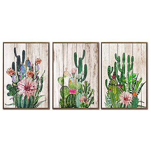 """Canvas Wall Art Flowering Desert Cactus Watercolor Painting Home Decor Prints Posters Woodgrain Background Framed 18"""" x 24"""" 3 Pieces Artwork Office Home Decoration - Natural Wood Color L Photo Frame"""