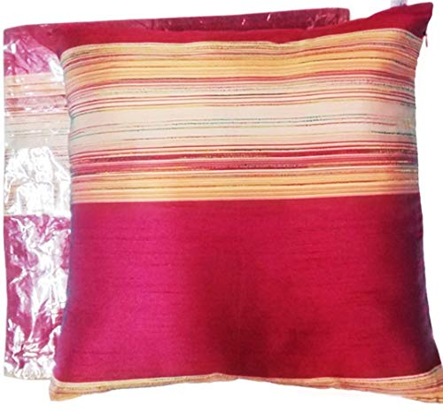 - PunPund Cushion Cover Thai Silk Red Wine Gold Pillow Decorative Sofa Home Living Room Gift Size 18