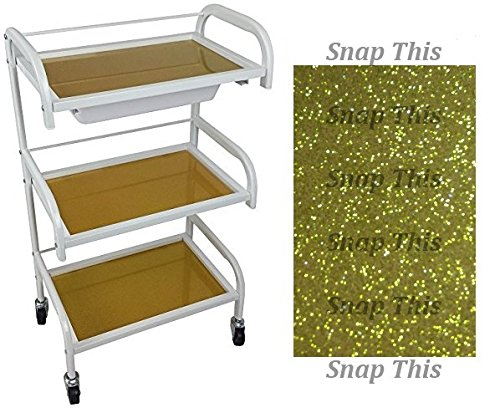 Optimus Glass White Salon Trolley - Gold Sparkle Style - Hairdresser Barber Hair Beauty Drawers Spa Cart ST-OP-GOLD