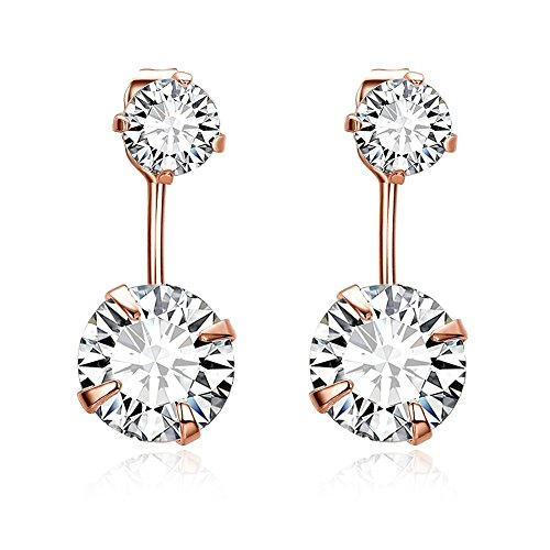 Waterford Collins Glass (Fashion Bling Zircon Piercing Dangle Earring Rose-Gold-Plated Stud Earrings)