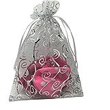 Sosam 100PCS 6x8'' (15x20cm) Drawstring Organza Jewelry Favor Pouches Wedding Party Festival Gift Bags Candy Bags (6x8''(15x20cm), White Silver)