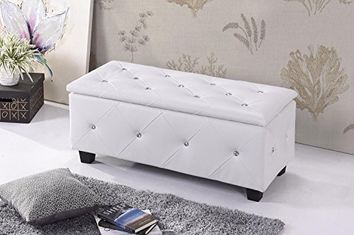 Tufted Design Upholstered Storage Bench Ottoman - White (Twin)