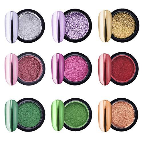 Mirror Nail Powder, Chrome Nail Powder Mirror Effect Glitter Nail Pigment 9 Boxes Metallic Manicure Pigment with 9pcs Eyeshadow Sticks
