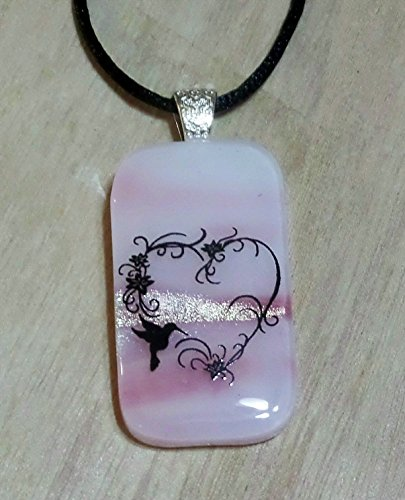 Dichroic Fused Glass Pink n White Heart Art Design Handmade Pendant with Necklace (Glass Pink Dichroic Pendant)
