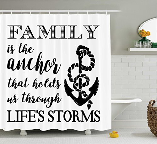 Ambesonne Family Shower Curtain, Family is Anchor That Holds Us Inspiration Stylized Writing Anchor with Rope, Fabric Bathroom Decor Set with Hooks, 70 Inches, Black and White (Rope Inspirations)