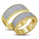 TVS-JEWELS Round Cut Sim. Diamond Graceful 14k Gold Plated Sterling Silver Couple Ring Set