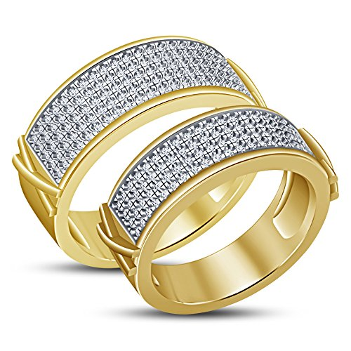 TVS-JEWELS Round Cut Sim. Diamond Graceful 14k Gold Plated Sterling Silver Couple Ring Set by TVS-JEWELS