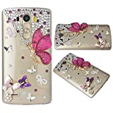 Spritech(TM) Bling Phone Case For LG G4 H815 H818,3D Handmade Crystal Buttefly Angel Pattern Accessary Design Clear Cellphone Cover