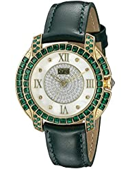 Burgi Womens BUR156GN Yellow Gold Quartz Watch With Diamond Mother of Pearl Swarovski Crystal Accented Dial &...