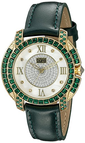Burgi Women's BUR156GN Yellow Gold Quartz Watch With Diamond Mother of Pearl Swarovski Crystal Accented Dial & Bezel With Green Leather Strap - Swarovski Crystal Heart Watch