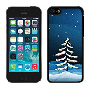 Iphone 5C Case,Snow Christmas Tree Colorful Lights Iphone 5C Black Cover Case,Fit Iphone 5C Soft Case