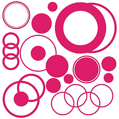 Drama Decor Polka Dots & Circles Full Sheet Removable Stickers, Fuschia