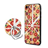 SJDEI5W Pizza Mobile Phone Ring Stent + iPhone 8 Case/iPhone 7 Case, PC Rubber Case Compatible iPhone 8 2017/ iPhone 7