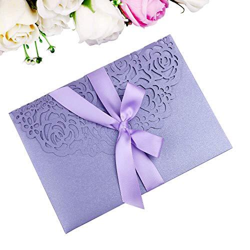 PONATIA 20PCS 3 Folds Laser Cut Wedding Invitations Cards with Violet Ribbons for Wedding Bridal Shower Engagement Birthday Graduation Invite (Violet)