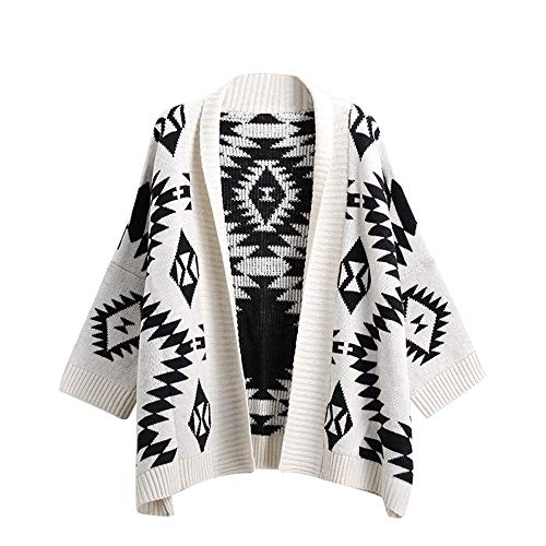 (FarJing Clearance Women Knitted Printing V Neck Long Sleeve Loose Sweater Pullover Coat(Free Size,White )