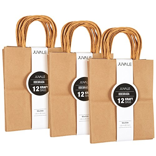 (36-Count Brown Kraft Bags - Paper Bags with Handles, Great as Wedding Favor Bags, Shower Favor Bags, Bridal Party Gift Bags, Medium, 8 x 10 x 4.5 Inches)