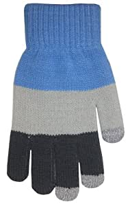 Boss Tech Products Knit Touchscreen Gloves with Conductive Fingertips for Use with All Touchscreen Electronic Devices - Blue/ Gray