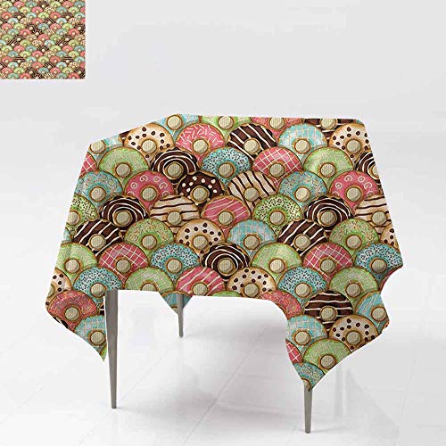 Taste Creamy - AndyTours Square Tablecloth,Tea Party,Colorful Delicious Donuts Sweet Breakfast Pastry Creamy Taste Bakery Food Theme,Great for Buffet Table, Parties& More,54x54 Inch Multicolor