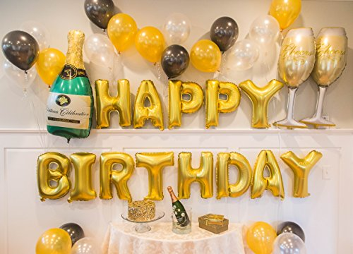 Gold birthday and champagne balloon set birthday party for 21st birthday decoration packages