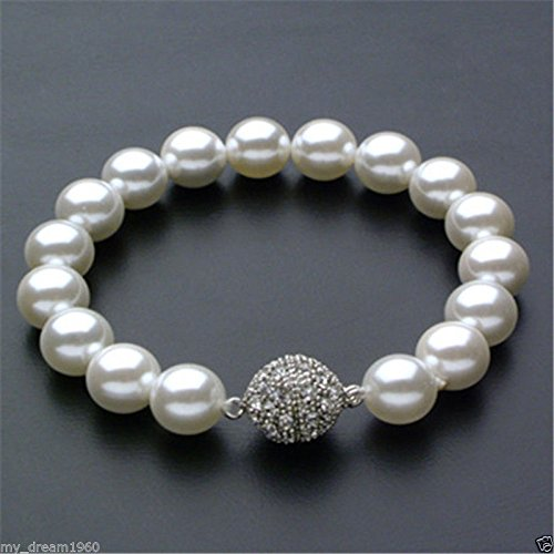 (Genuine 14mm White South Sea Shell Pearl Round Beads Bangle)