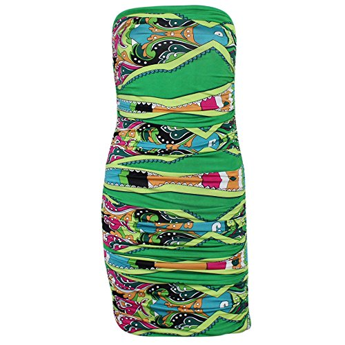 T-bags Print Tube Dress - T-Bags Los Angeles Womens Shirred Tube Mini Dress Green Multi Medium