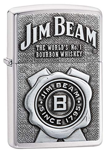 (Zippo Jim Beam Brushed Chrome Emblem Pocket Lighter)