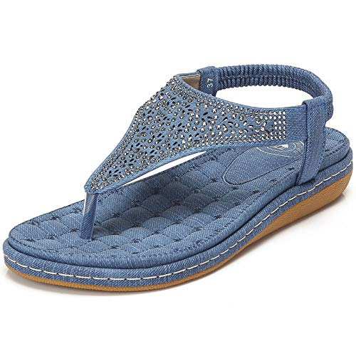 Blue Color Sandal Woman (CAMEL CROWN Womens Thong Flat Sandals Summer T-Strap Bohemian Rhinestone Flip Flops Sandal Comfort Walking Slip On Shoes Colour Blue Size 6)