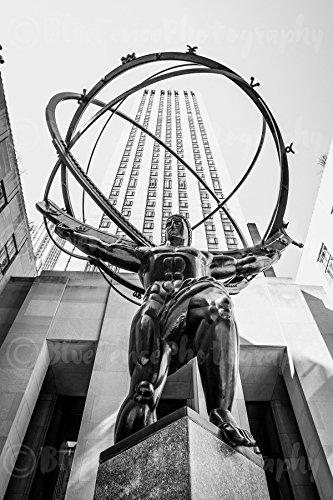 Atlas Statue, Rockefeller Center, Art Print, Wall Decor, Black and White, New York City Photograph, Living Room, Bedroom Art, Wall Art, Home Decor, Sizes Available from 5x7 to 20x30. (Artwork Center Rockefeller)