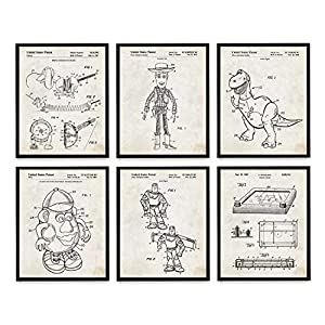 Wunderkammer Studio Toy Story Patent Poster Art – Kids Room Wall Art – Toy Story Gift – Buzz Lightyear and Woody – Set of 6-5 x 7 Unframed Art Prints
