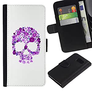 All Phone Most Case / Oferta Especial Cáscara Funda de cuero Monedero Cubierta de proteccion Caso / Wallet Case for Sony Xperia Z3 Compact // Floral Purple Skull White Pink Spring