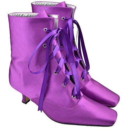 5cm Heel Boots Bridal Heel Satin Womens Dress Girls Boost Violet Wedding Ankle up Lace Low Minitoo BZx6gnq7wn