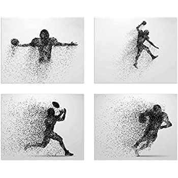 Summit Designs Football Wall Decor Art Prints - Particle Silhouette - Set of 4 (8x10) Poster Photos - Man Cave, Bedroom Decor