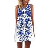 Bandage Dress Two Piece,Women Loose Summer Vintage Sleeveless 3D Floral Print Short Mini Dress XL,White,XL