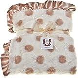 Max Daniel Plush Baby Throw Blanket, Champagne Dots