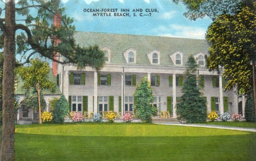 OCEAN-FOREST INN AND CLUB, Myrtle Beach, S.C.-7, (LINEN), Florence News Co, Florence, SC, Natural Color Card 2858N, made by E.C. Kropp Co., Milwaukee, Wis