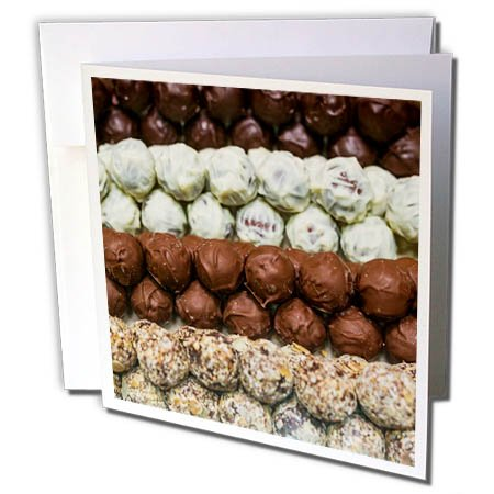 3dRose Danita Delimont - Food - Belgium, Bruges. Truffles at a belgian chocolate shop - 12 Greeting Cards with envelopes (gc_277296_2) (Chocolate Two Belgian)