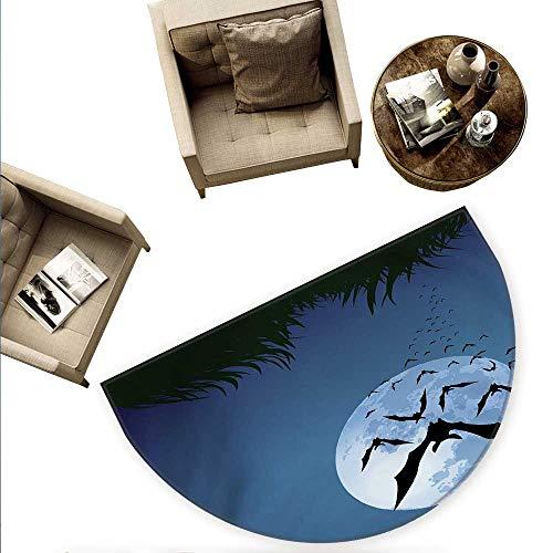 Halloween Semicircular Cushion A Cloud of Bats Flying Through The Night with a Full Moon Fall Season Entry Door Mat H 55.1