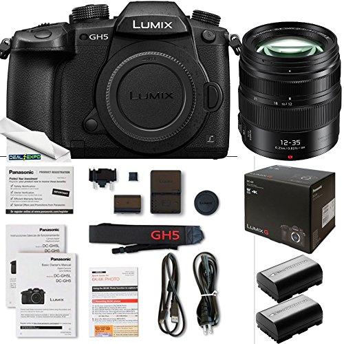Panasonic Lumix DC-GH5 Mirrorless Micro Four Thirds Digital Camera + Panasonic interchangeable lens LUMIX G X VARIO 12-35mm / F2.8 II ASPH. / POWER O.I.S. [Micro Four Thirds - Expo Accessories Bundle by Deal-Expo