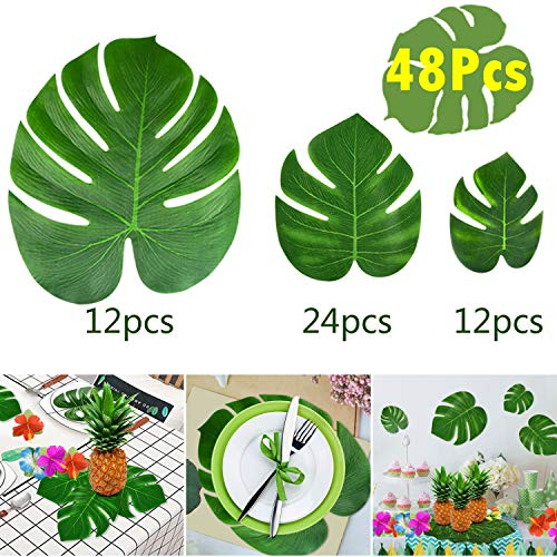 - KUUQA 48 Pcs Tropical Party Decor Artificial Plant Tropical Palm Monstera Leaves Simulation Leaf for Hawaiian Luau Safari Party Jungle Beach Theme BBQ Birthday Party Decorations Supplies 3 Sizes
